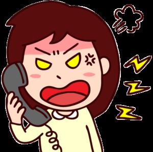 クレームの電話をかける女性のイラスト