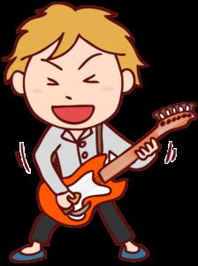 ギターを弾くギタリストのイラスト
