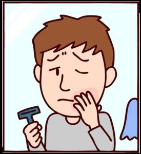 髭剃り後に肌荒れする男性のイラスト