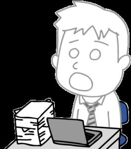仕事が終わらずに放心状態の男性会社員のイラスト