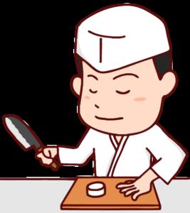 調理を行う板前さんのイラスト
