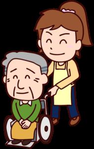 おじいさんと車いすを押す女性のイラスト
