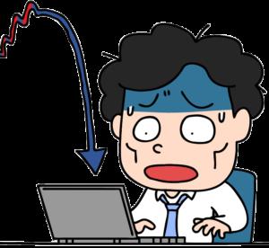 株の暴落で青くなる男性のイラスト