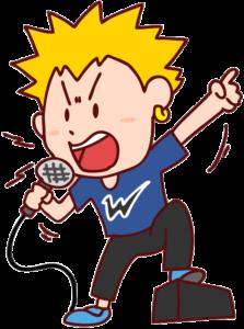ライブ会場で歌う男性ボーカルのイラスト