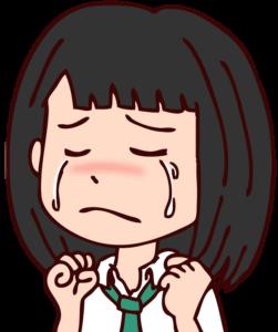 泣く女子学生のイラスト