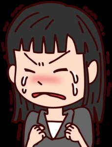悔しくて泣いてしまう女性のイラスト