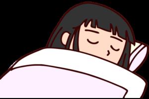 布団に入って眠っている女性のイラスト