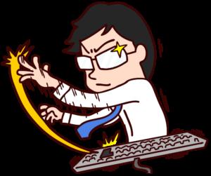 ターン!とキーボードを打つ男性のイラスト