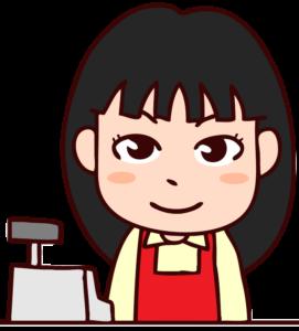 レジ台に立つ女性店員のイラスト
