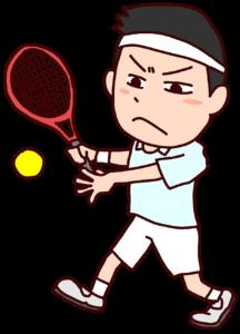 テニスをする男性のイラスト