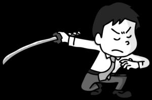 刀を振るう会社員のイラスト