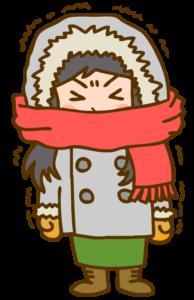 寒がり女の子のイラスト