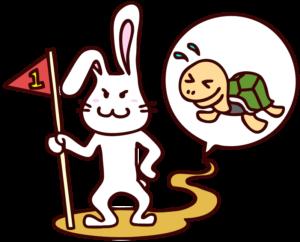容赦のない「ウサギとカメ」のウサギのイラスト
