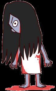 血まみれの女幽霊のイラスト