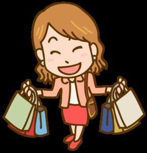 買い物を楽しむ女性のイラスト