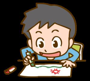 お絵描きする少年のイラスト