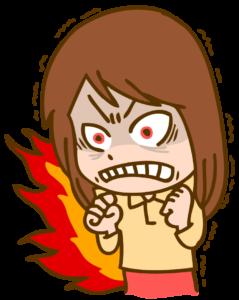 怒りで震える女性のイラスト