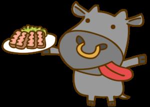 牛タンを持つ黒毛和牛のイラスト