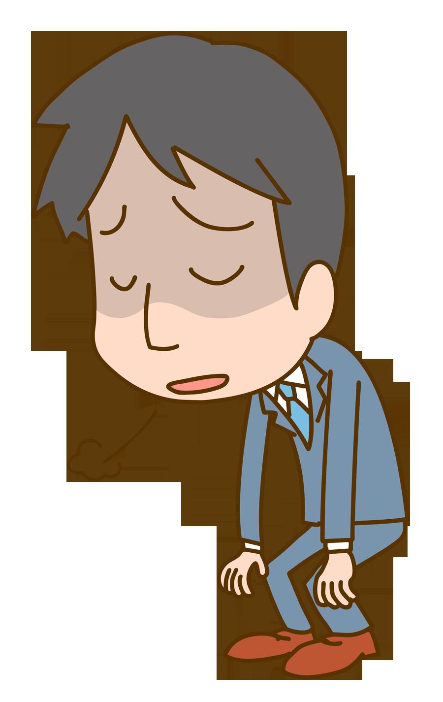 ため息をつく男性会社員のイラスト