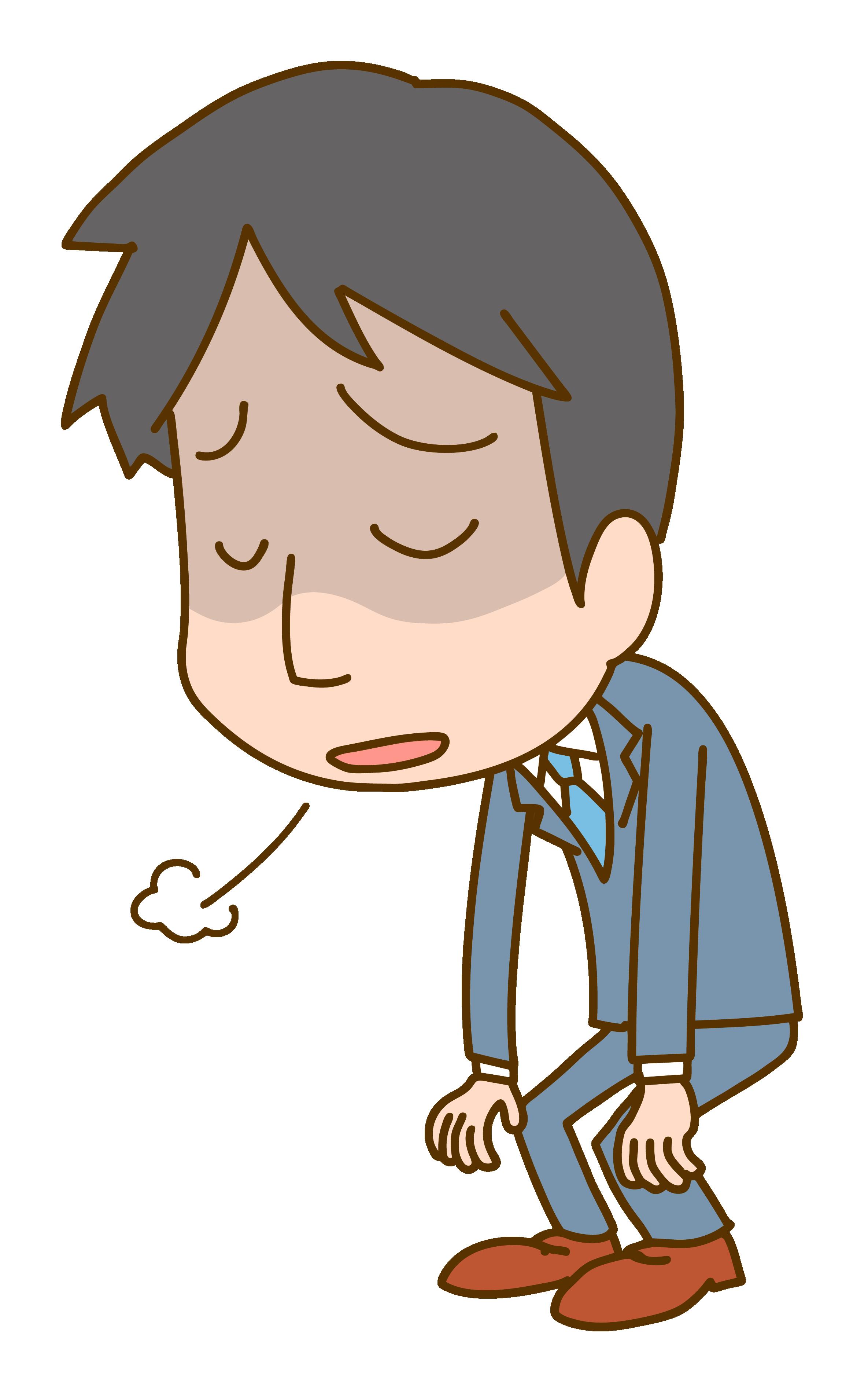 ため息をつく会社員男性のイラスト