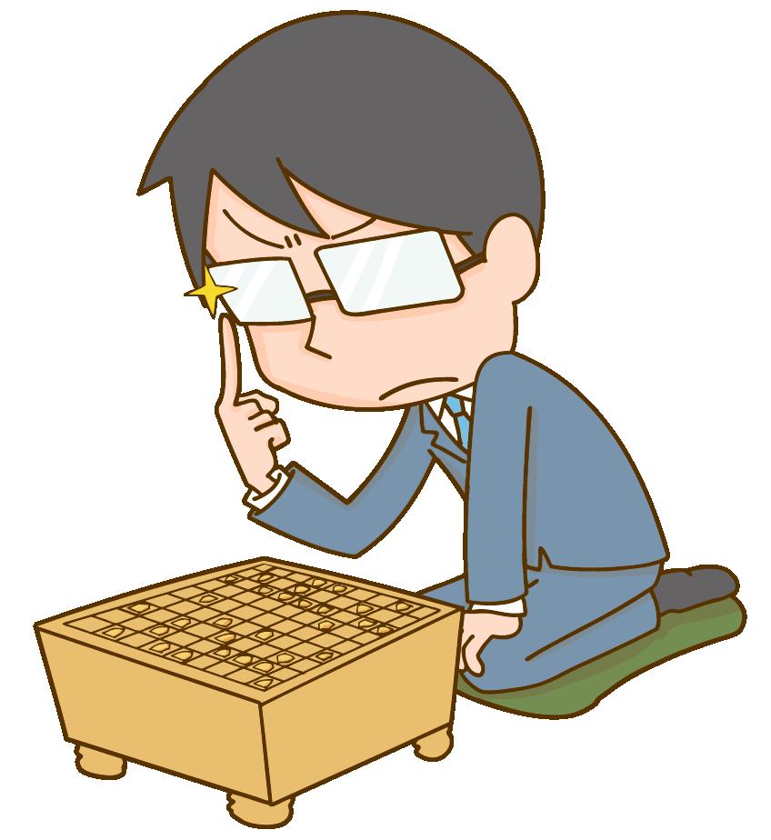 将棋をする男性のイラスト