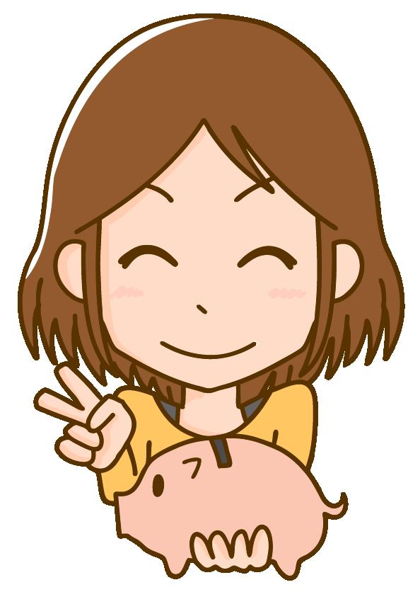 貯金箱にお金を貯めて嬉しそうな女性のイラスト